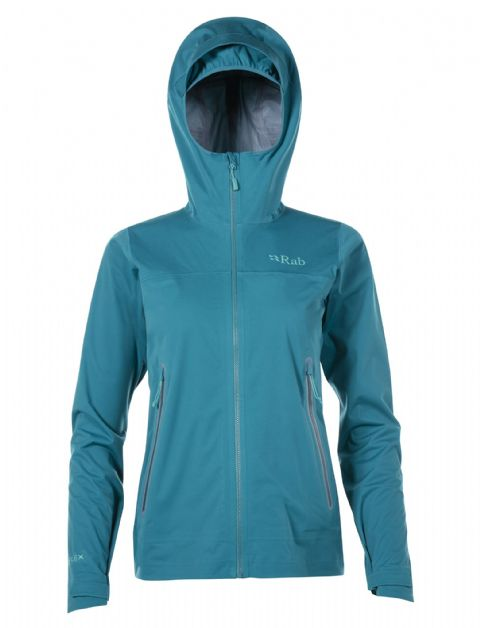 Rab Womens Kinetic Plus Jacket - Waterproof Lightweight Softshell - Amazon / Shadow